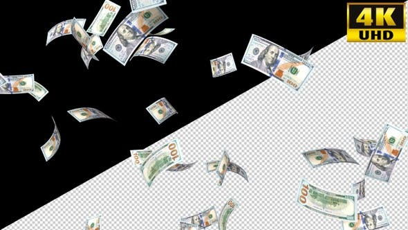 Thumbnail for Falling Money 100 Dollars On Alpha Channel Loops V1