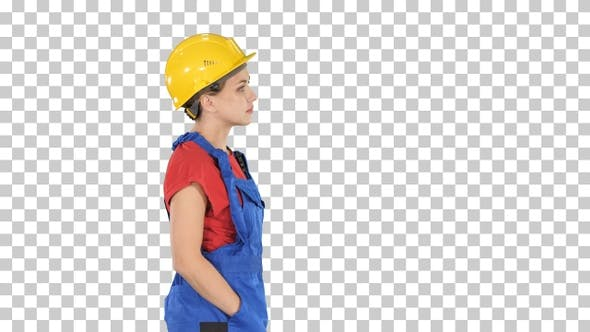 Thumbnail for Construction worker lady walking emotionless, Alpha Channel