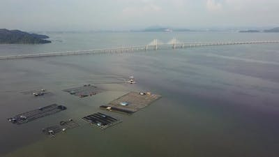 Fish farm in aerial view at Penang