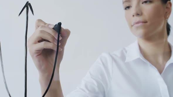 Thumbnail for Female Entrepreneur Presenting Plan on Glass Wall
