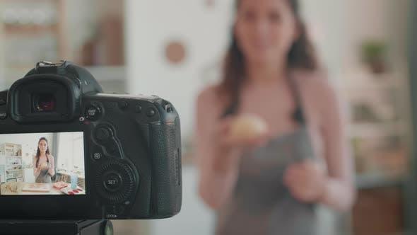 Thumbnail for Camera Recording Female Culinary Vlogger