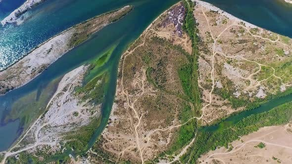 Thumbnail for Dramatic aerial view of Drin river in Albania