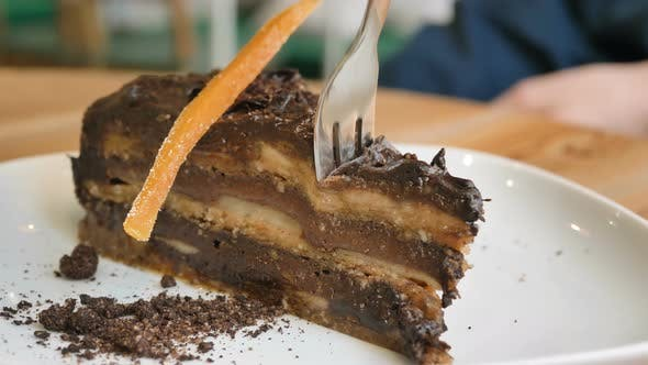 Vegetarian Cafe Visitor Inputs Fork Into Vegan Cake Slice