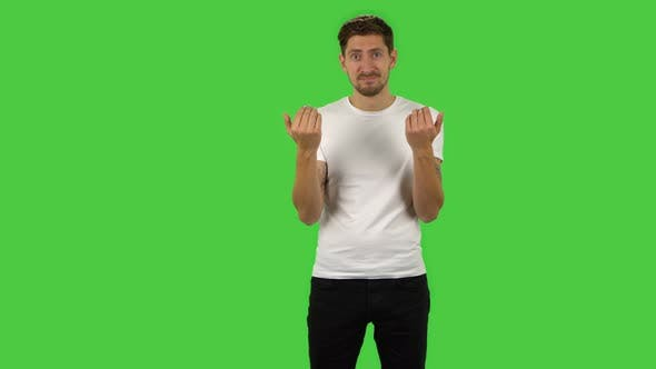 Thumbnail for Confident Guy Is Waving Hand and Showing Gesture Come Here
