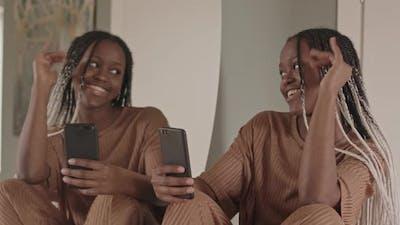 African American Woman Taking Selfie Portrait
