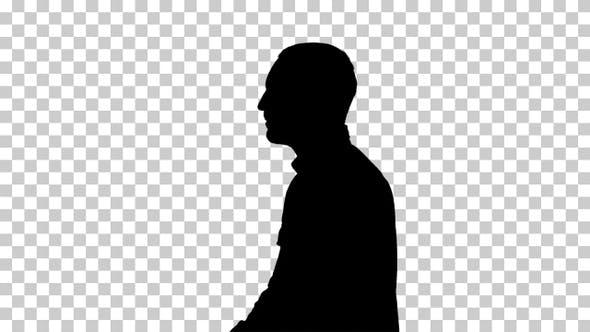 Silhouette man walking, Alpha Channel