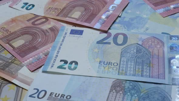 Thumbnail for Business and money background of European Union currency on table 4K 2160p 30fps UltraHD footage - L