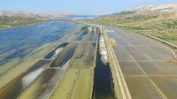 Thumbnail for View from above of salt extraction ponds on Pag island, Croatia