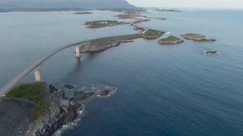 Aerial view of amazing Atlantic Ocean Road (Atlanterhavsveien) in Norway