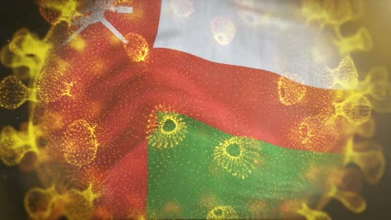 Oman Flag With Coronavirus Microbe Centered