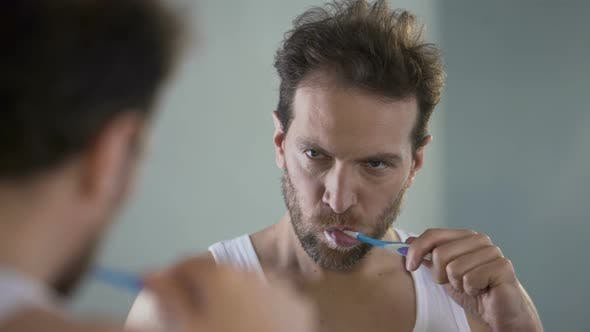 Thumbnail for Sleepy Man Brushing Teeth, Tired of Routine, Going to Work in Morning, Hangover
