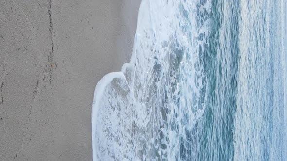 Vertical Video Sea Near the Coast  Closeup of the Coastal Seascape