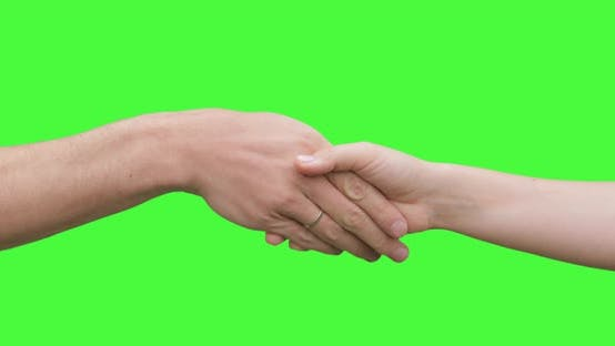Isolated Man and Woman Handshake Showing Salute, Greeting, Welcome Sign Symbol. Green Screen