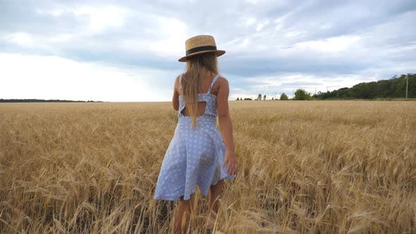 Thumbnail for Follow To Cute Child with Long Blonde Hair Walking Through Wheat Field at Overcast Day. Small Girl