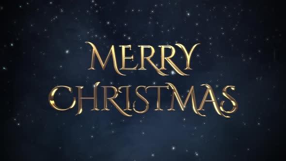 Animated closeup Merry Christmas text, white snowflakes on blue background