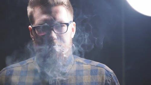 Redhead Brutal Man Smoking