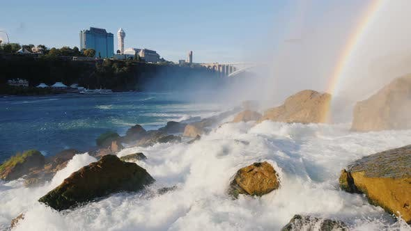Cover Image for The Foot of Niagara Falls. In the Distance You Can See the Canadian Coast with the Buildings
