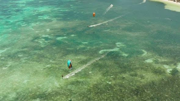 Kitesurfers on Bulabog Beach, Boracay Island, Philippines