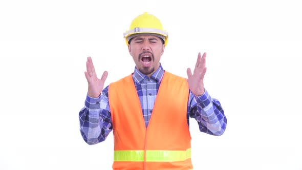 Thumbnail for Stressed Bearded Persian Man Construction Worker Getting Bad News