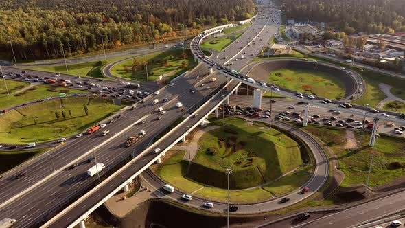 Aerial View of a Freeway Intersection Traffic Trails in Moscow