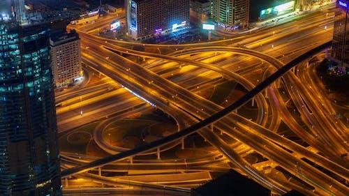 Dubai Highway Intersection Traffic Transport Node Night Time-lapse
