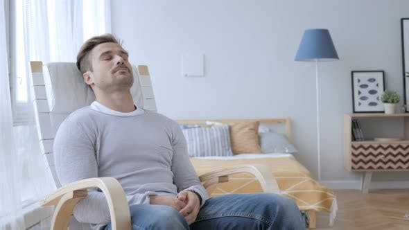 Thumbnail for Sleeping Tired Middle Aged Man Relaxing on Casual Chair