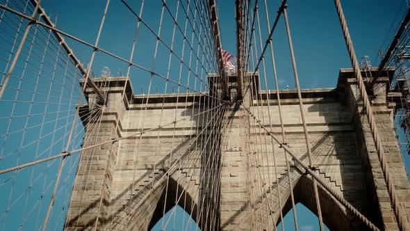 Establishing Shot of a Brooklyn Bridge in New York USA