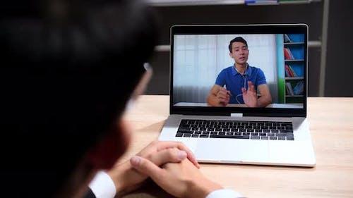 Man On Webcam Conference