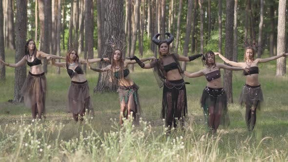 Thumbnail for Forest Dwellers Dancing in the Woods Hot Dance, Moving Simultaneously. Forest Fairies, Dryads in