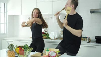 Happy dancing in kitchen