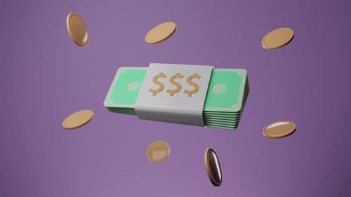 Bundle Of Cash And Floating Coins
