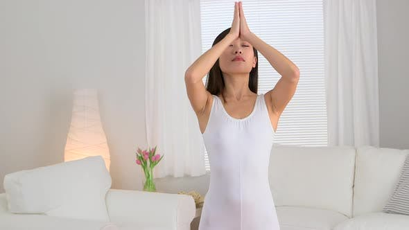 Thumbnail for Calm Chinese woman doing yoga