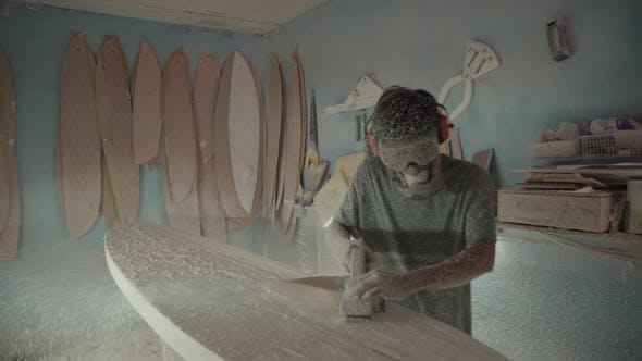 Thumbnail for Asian Artisan Polishing Handmade Surfboard