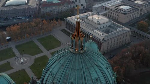 Orbit Shot Around Roof Dome of Berlin Cathedral