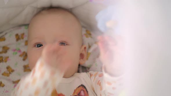 Active Six Months Baby Girl Playing with Toys in Crib