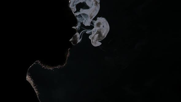 Thumbnail for Electronic Cigarette. Exquisitely Beautiful Smoke. Black. Silhouette. Close Up. Slow Motion
