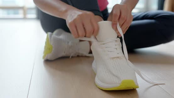 Thumbnail for Woman wear sport shoes and prepare for running