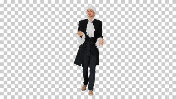 Thumbnail for Man dressed as courtier talking expressively, Alpha Channel