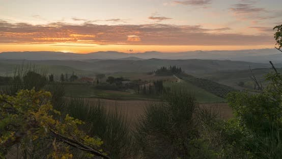 Timelapse View of the Fields, Wineries Near San Quirico d'Orcia. Tuscany Autumn Sunrise