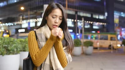 Woman feeling cold at outdoor
