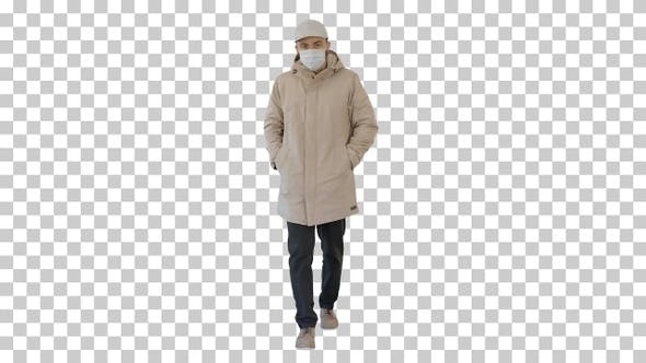 Man in Warm Coat Walking and Putting on Medical Mask, Alpha Channel