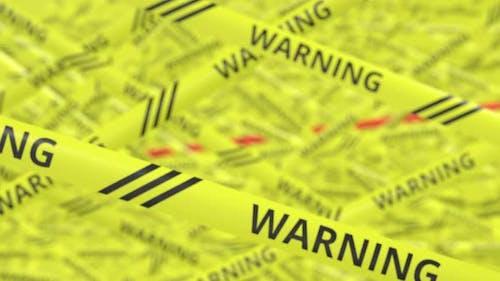 Bänder mit WARNING und COVID19-Text