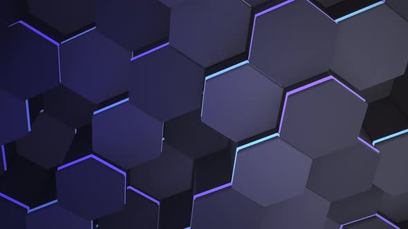 Thumbnail for Motion dark blue hex grid background, abstract background