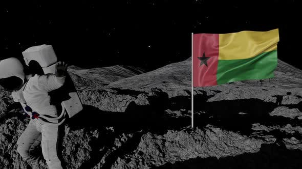 Astronaut Planting Guinea-bissau Flag on the Moon