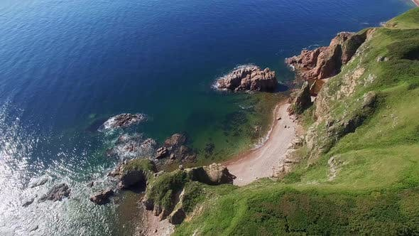 View From a Drone of the Coastline with a Rocky Coast and Rocks