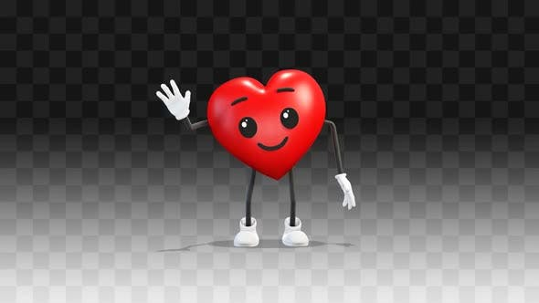 Heart greets with hand