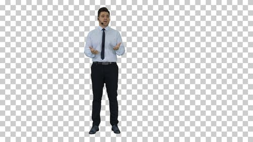 Businessman making a presentation of new product or technology