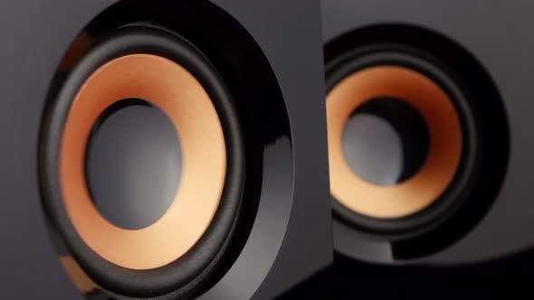 Cover Image for Loud Speaker. Speaker Cone Pumping. Closeup