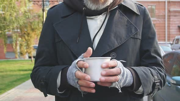Asking for Help. Senior Man with Grey Beard Asking for Some Money Help By Citizens of City