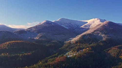 Picturesque Mountain Landscapes Near the Village of Dzembronya in Ukraine in the Carpathians